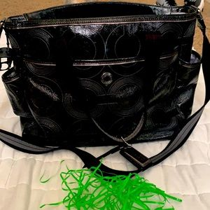 Authentic Coach black large Baby/ kids diaper tote